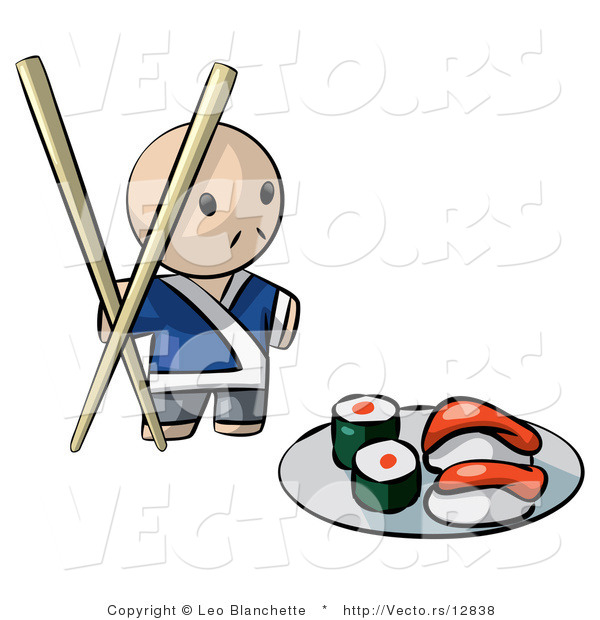 Vector of Cartoon Sushi Chef with Giant Chopsticks Beside Plate of Raw Food
