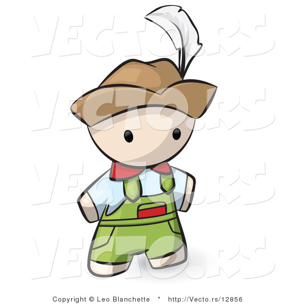 Vector of Cartoon Swiss Guy Wearing Overalls and a Hat with Feather