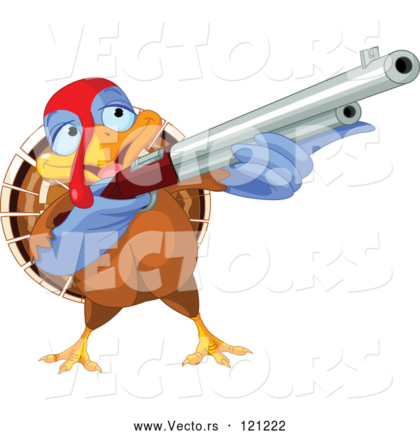 Vector of Cartoon Thanksgiving Turkey Bird Shooting a Rifle