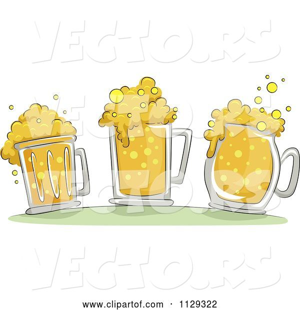 Vector of Cartoon Three Beer Mugs with Froth