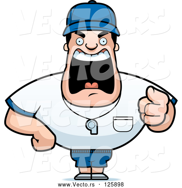Vector of Cartoon Tough Coach Guy Pointing and Yelling