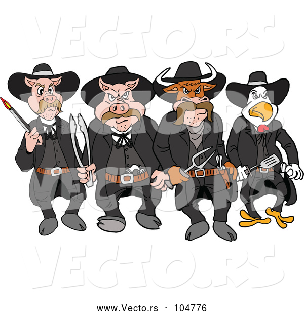 Vector of Cartoon Tough Cow Rooster and Pig Lawmen Walking Forward with Bbq Tools