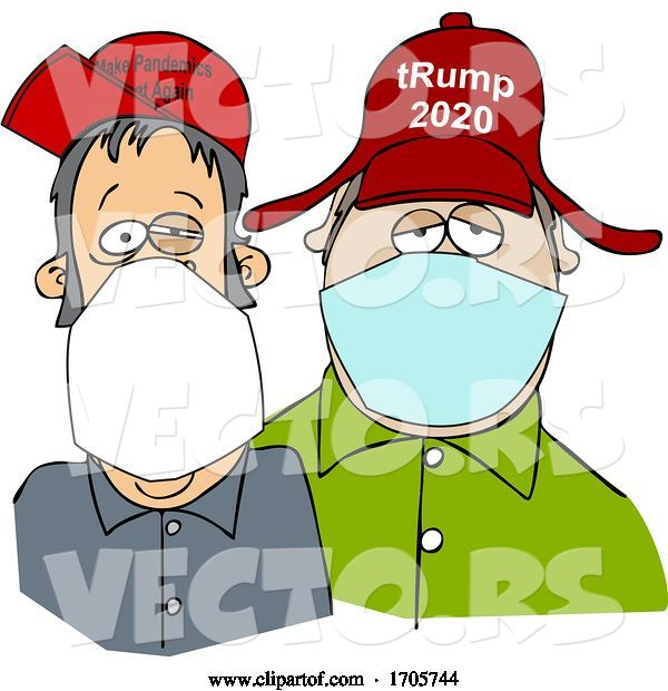 Vector of Cartoon Trump Supporters Wearing Covid-19 Face Masks