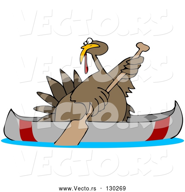 Vector of Cartoon Turkey Bird Paddling a Canoe
