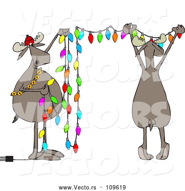 Vector of Cartoon Two Festive Moose Hanging Christmas Lights