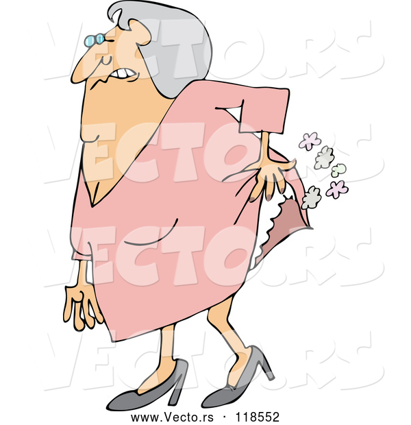 Vector of Cartoon Uncomfortable Old Lady Passing Gas