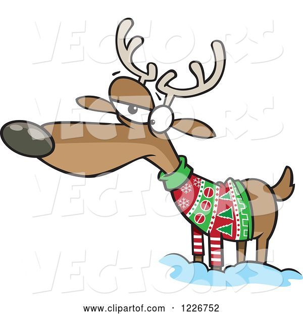 Vector of Cartoon Unhappy Reindeer in an Ugly Christmas Sweater