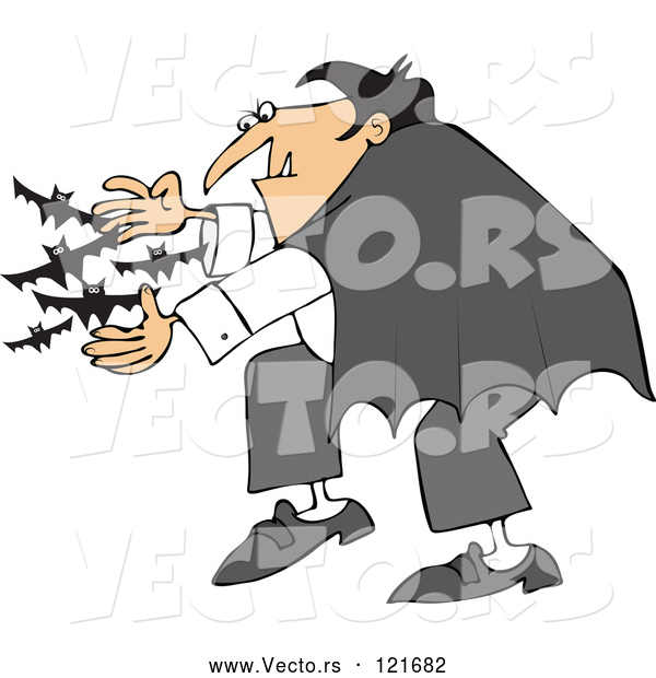 Vector of Cartoon Vampire Releasing Bats