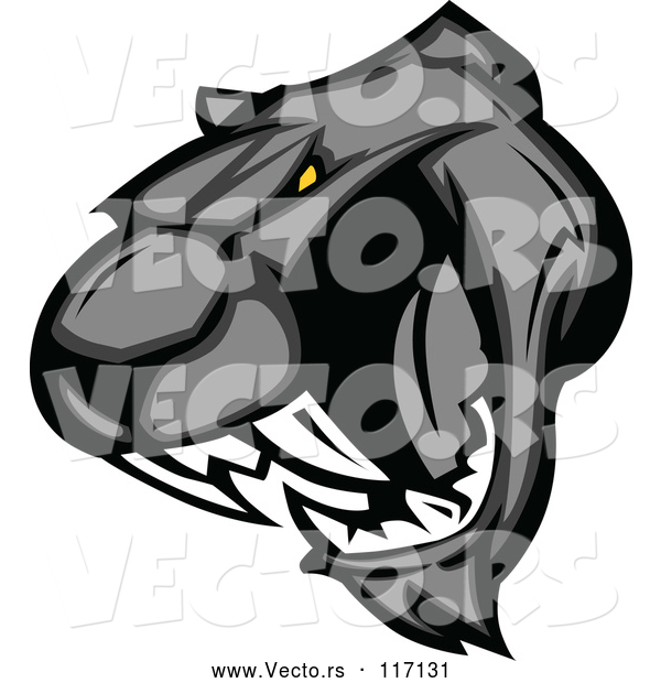 Vector of Cartoon Vicious Roaring Black Panther Head