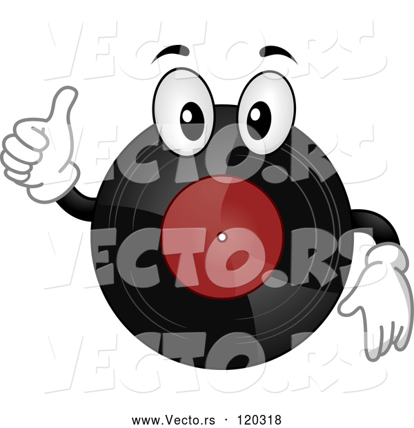 Vector of Cartoon Vinyl Record Mascot Holding a Thumb up