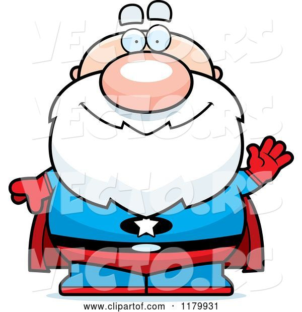 Vector of Cartoon Waving Chubby Senior Super Guy