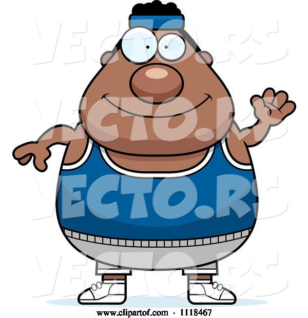 Vector of Cartoon Waving Plump Black Gym Guy