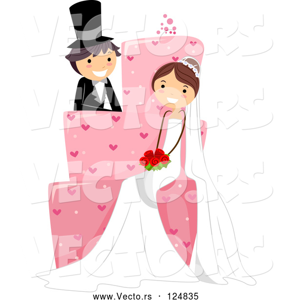 Vector of Cartoon Wedding Couple Sitting on a Giant Pink Cake