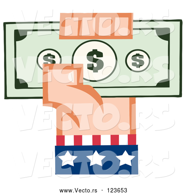 Vector of Cartoon White American Hand Holding up Cash