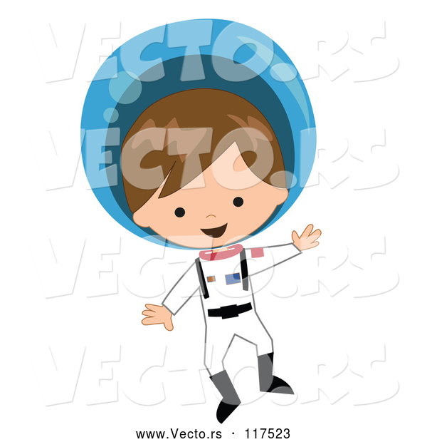 Vector of Cartoon White Astronaut Boy Floating in a Space Suit