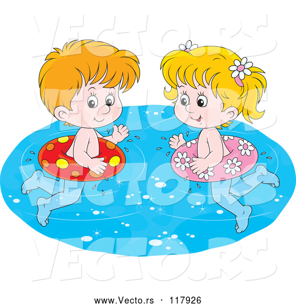 Vector of Cartoon White Boy and Girl Swimming with Inner Tubes