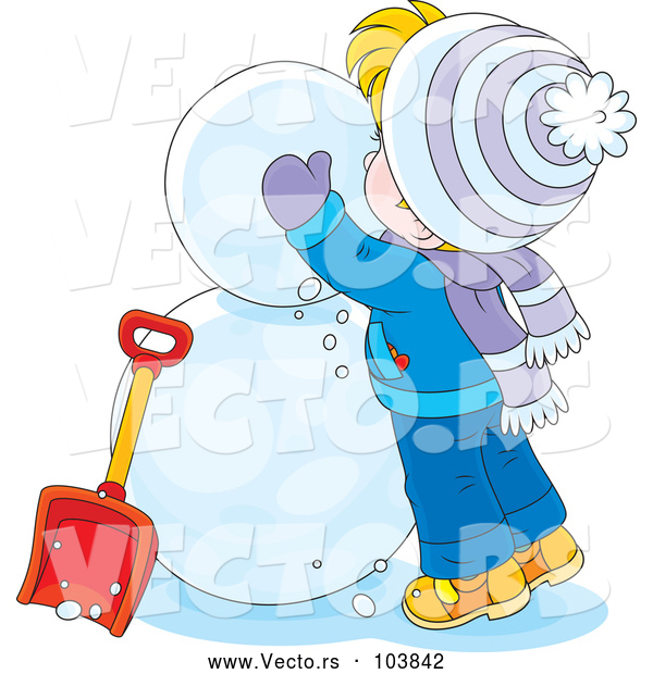 Vector of Cartoon White Boy Making a Snowman