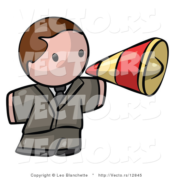 Vector of Cartoon White Businessman Announcing with Megaphone