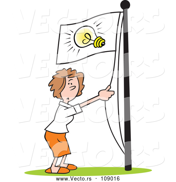 Vector of Cartoon White Businesswoman Running an Idea up the Flag Pole