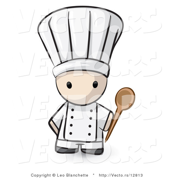Vector of Cartoon White Chef Holding a Mixing Spoon