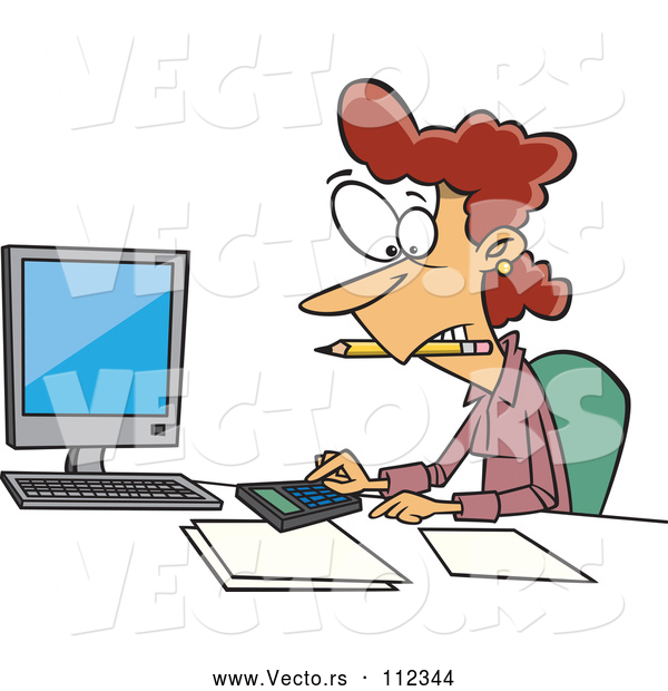 Vector of Cartoon White Female Accountant Working Hard at Her Desk