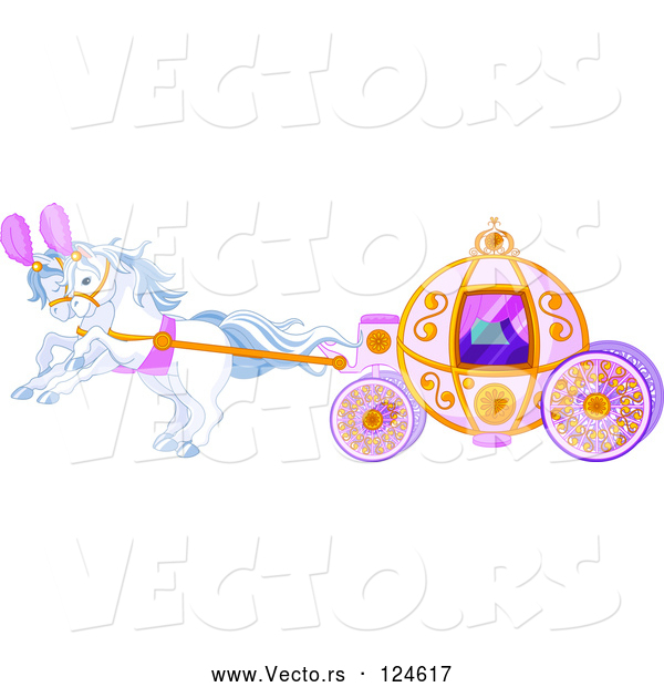 Vector of Cartoon White Horses Pulling a Fairy Tale Carriage