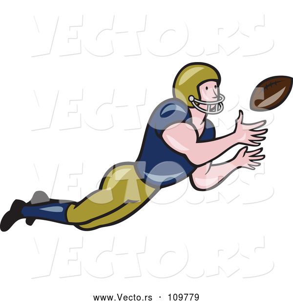Vector of Cartoon White Male American Football Girdiron Player Catching a Football