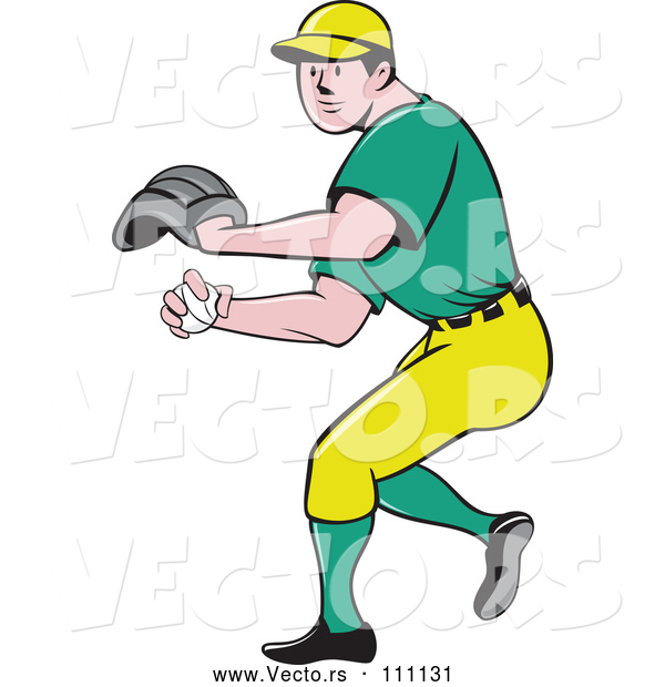 Vector of Cartoon White Male Baseball Player Pitching in a Green and Yellow Uniform