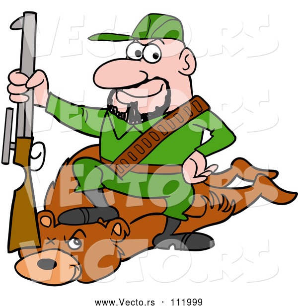 Vector of Cartoon White Male Hunter Sitting on a Bear with a Boot on the Neck