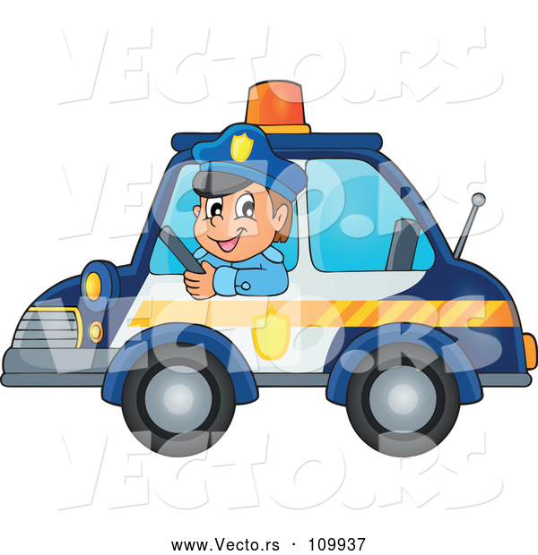 Vector of Cartoon White Male Police Officer Driving a Car