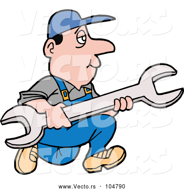 Vector of Cartoon White Worker Guy Running with a Giant Wrench