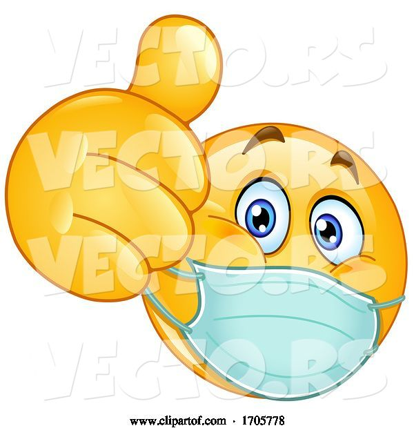 Vector of Cartoon Yellow Emoji Smiley Face Doctor Wearing a Surgical Mask and Giving a Thumb up