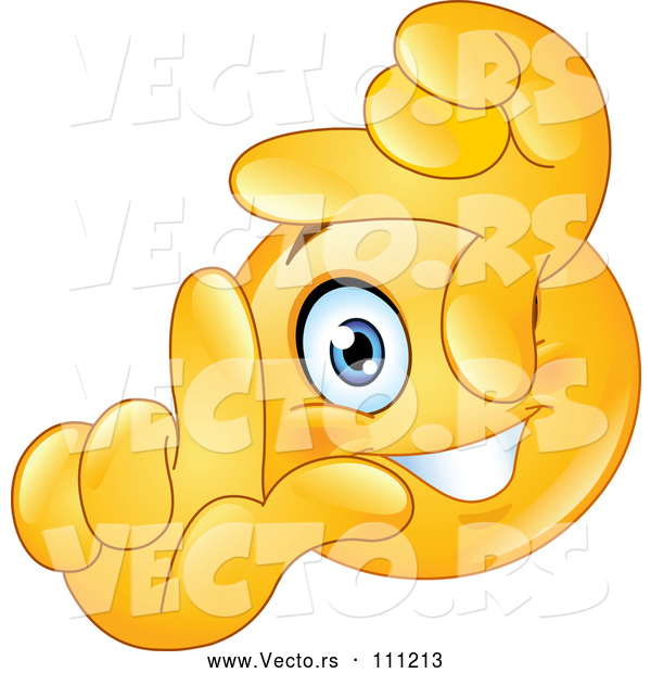 Vector of Cartoon Yellow Smiley Face Emoticon Framing a Scene with His Fingers