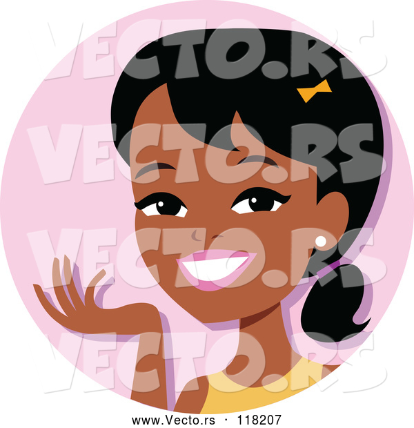 Vector of Cartoon Young Black Lady Avatar Smiling and Gesturing
