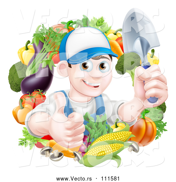 Vector of Cartoon Young Brunette White Male Gardener in Blue, Holding up a Shovel and Giving a Thumb up in a Wreath of Produce