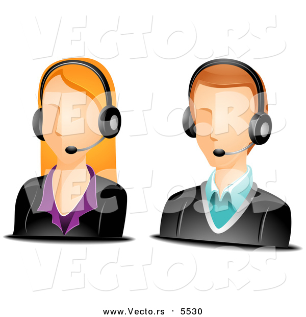 Vector of Caucasian Male and Female Customer Service Avatars