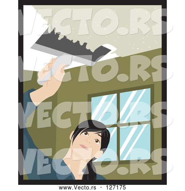 Vector of Caucasian Woman Using a Scraper Tool to Remove Popcorn Ceiling in Her House