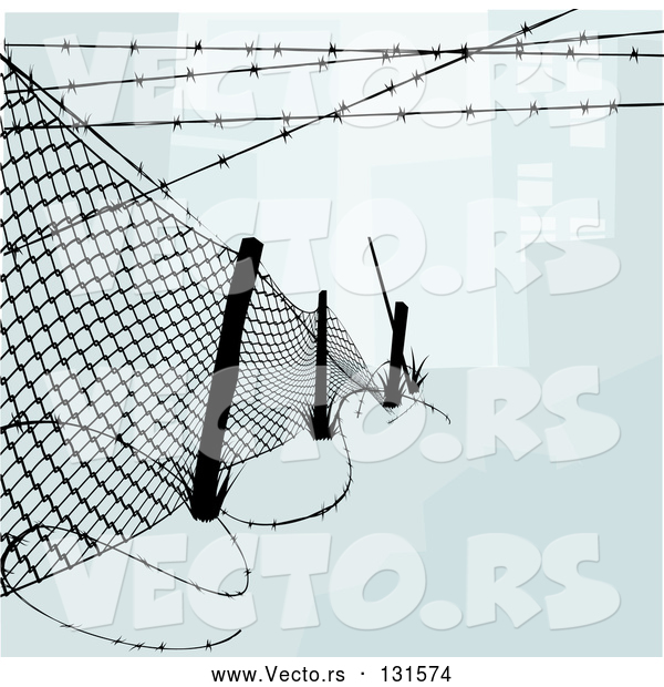 Vector of Chainlink Fence with Barbed Wire Along the Top and Bottom to Keep Intruders in or out