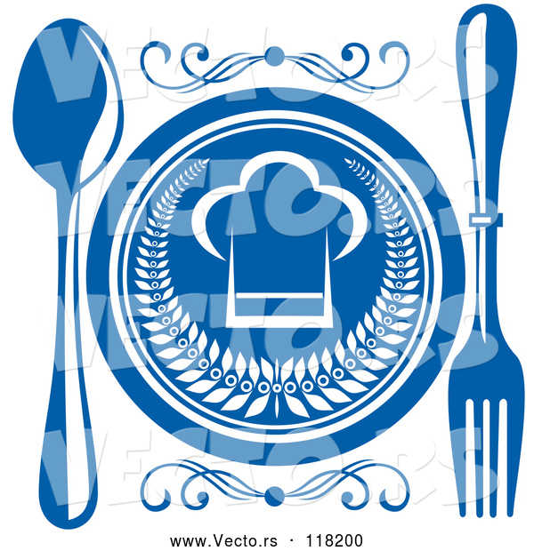 Vector of Chef Hat Plate and Silverware - Blue and White Theme
