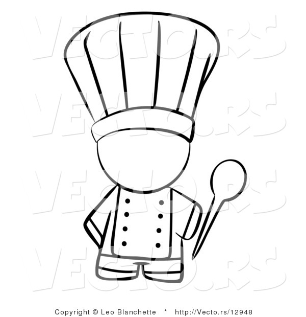Vector of Chef Holding a Mixing Spoon - Coloring Page Outlined Art