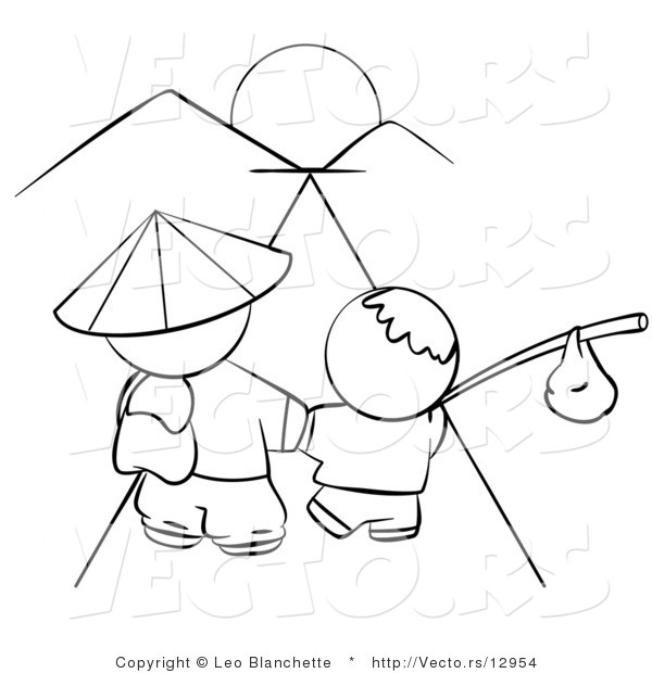 Vector of Chinese Father and Son Walking Towards the Sunset - Coloring Page Outlined Art