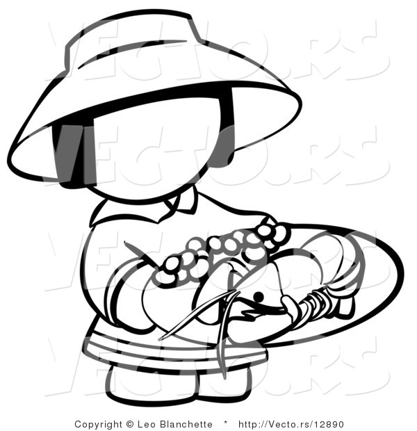 Vector of Chinese Girl with a Plate of Seafood - Coloring Page Outlined Art