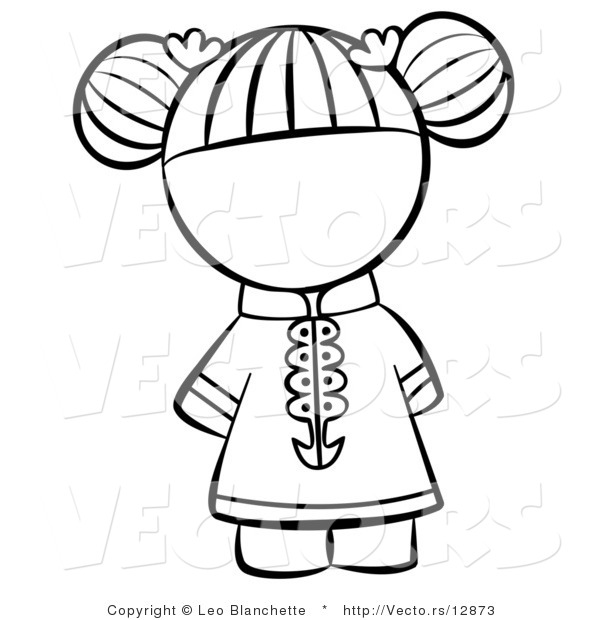 Vector of Chinese Girl with Hair Tied up - Coloring Page Outlined Art