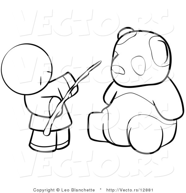 Vector of Chinese Person Feeding a Panda - Coloring Page Outlined Art