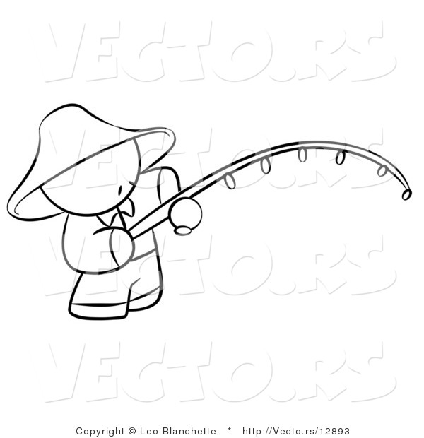 Vector of Chinese Person Fishing - Coloring Page Outlined Art
