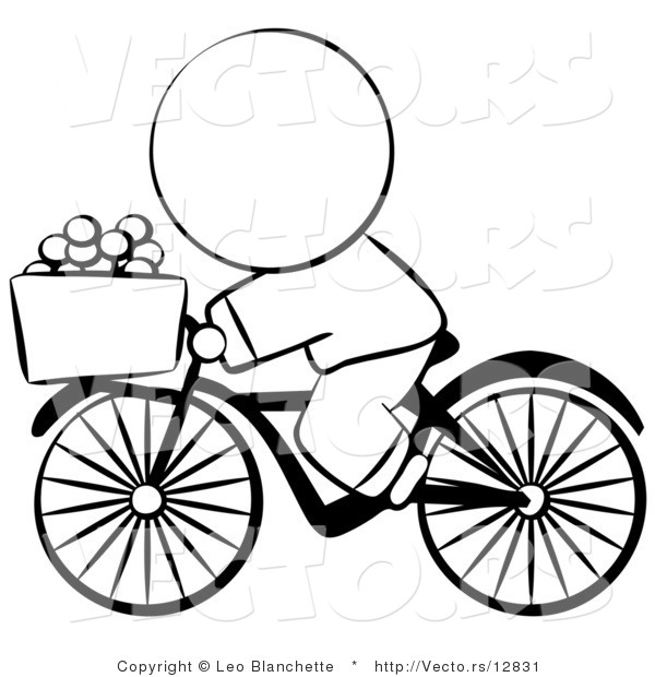 Vector of Chinese Person Riding a Bike with Eggs in the Basket - Coloring Page Outlined Art