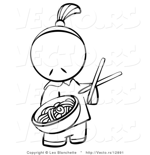 Vector of Chinese Person Serving Noodles - Coloring Page Outlined Art