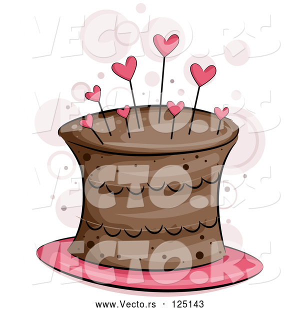 Vector of Chocolate Cake with Heart Pins