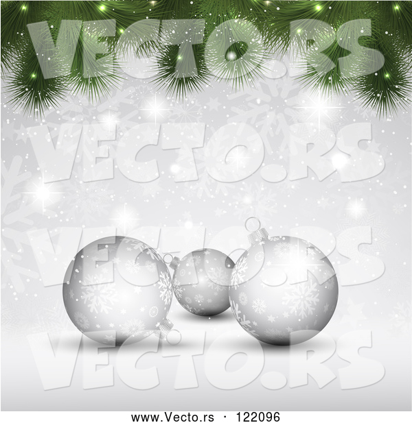 Vector of Christmas Background of 3d Silver Baubles with Snowflakes and Tree Branches