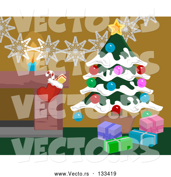 Vector of Christmas Decorations by a Fireplace in a Home, Christmas Tree and Stocking